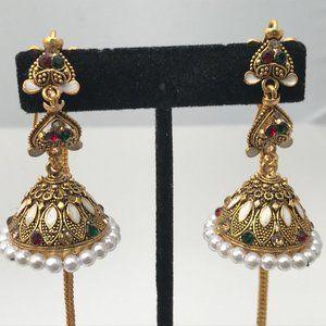 Jhumka earrings Red beads Gold Tone Fashion Women